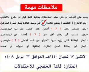 يسرنا إطلاعكم على الإرشادات الخاصة بعملية الاقتراع لانتخاب أعضاء مجلس الإدارة.